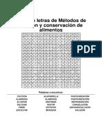Sopa de Letras de Métodos de Cocción y Conservación de Alimentos(1)