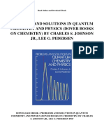 Problems and Solutions in Quantum Chemistry and Physics Dover Books on Chemistry by Charles s Johnson Jr Lee g Pedersen