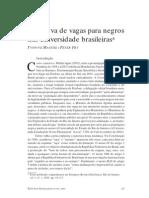 A Reserva de Vagas Para Negros Nas Universidades Brasileiras