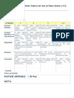 Matriz de Evaluación de Cuadro Sinóptico Del Tema de Enlace Químico y Geometría Molecular