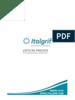 Lista de Precio ITALGRIF (Con Fotos) 2019