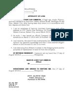 AFfidavit of Loss-Marvin
