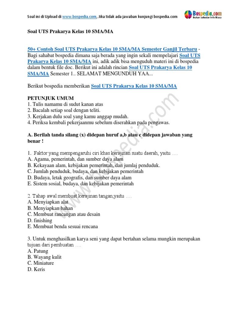 50 Contoh Soal Uts Prakarya Kelas 10 Sma Ma Semester Ganjil