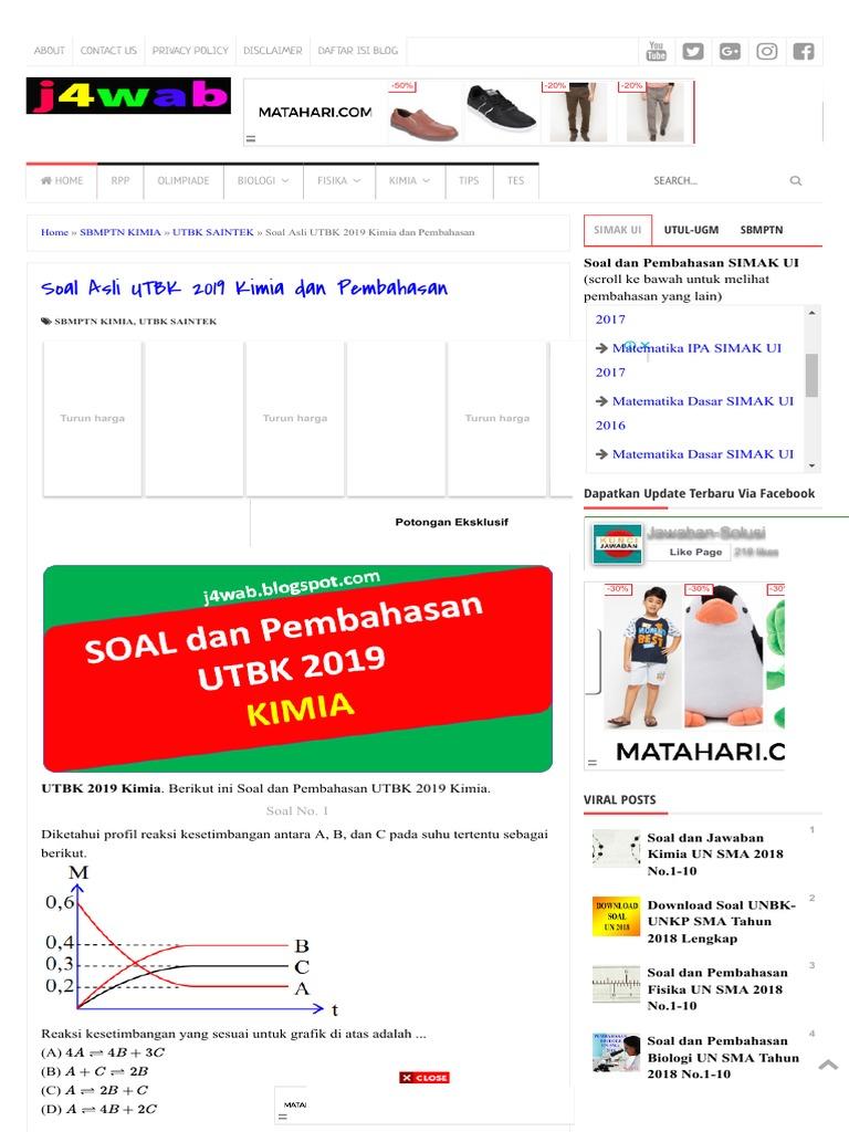 Soal Asli UTBK 2019 Kimia Dan Pembahasan - Jawaban-Solusi