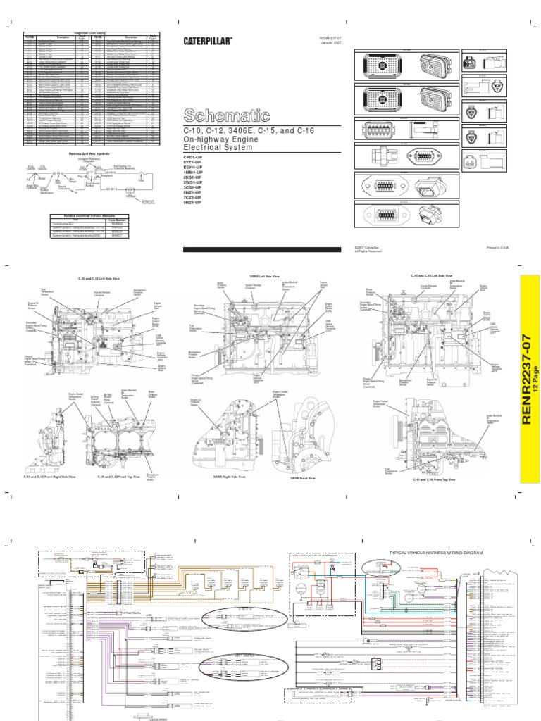 Diagrama Electrico Caterpillar 3406e C10 C12 C15 C162 International Pickup Wiring Harness