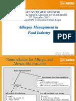 Food Allergen Management in Food Industry