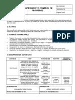 Gc-prd-002-Procedimiento Para El Control de Registros
