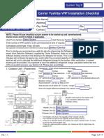 Checklist for VRF installation