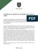 830 CONDENAN AL DUEÑO DE UN PERRO QUE MATÓ A OTRO