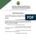 Certificado de Trabjo Universidad Nacional Amazónica de Madre de Dios