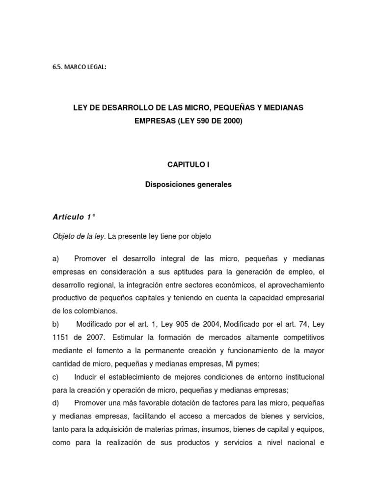Marco Legal Pequeñas Y Medianas Empresas Política