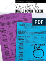 Weekly Homework Packet Cover Free Edit Able