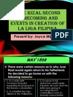 Jose Rizal Second Homecoming and Events in creation of La Liga Filipina