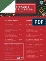 Cardápio - Pizzaria La Piu Bella - Alfenas MG - Ano 2019