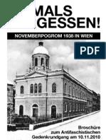 Broschüre November Pogrom Gedenken Wien - 10.11.2010