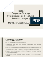 Topic 7 Corporate Strategy Diversification and the Multi-business Company