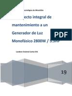 Proyecto Integral de Mantenimiento a Un Generador de Luz 2800W 5.5HP