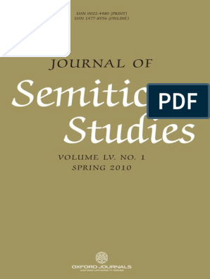 Journal Of Semitic Studies Vol 1 2010 Pdf Value Added Tax