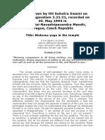 Niskama yoga in the temple