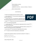 Lista de exercícios vetores e retas - Prof. Vanessa UFBA 2018.1