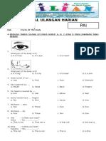 Soal Bahasa Inggris Kelas 3 SD Bab 1 Parts of the Body Dan Kunci Jawaban (Www.bimbelbrilian.com)