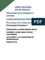 Actividad 2 La Capacidad de Aprendizaje Psicologia de La Educacion y Psicologia Evolutiva