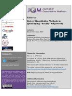 Quantitative Methods and Quantifying Reality