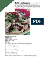 Salata Cu Paste, Fasole Si Ciuperci