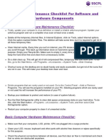 Computer Maintenance Checklist for Software and Hardware