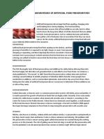 Advantages and Disadvantages of Artificial Food Preservatives