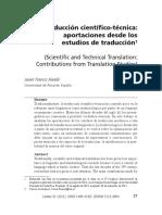 La Traduccion Científico-tecnica Aportaciones Desde Los Estudios de Traducción