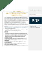 Politica Para El Tratamiento de Datos Personales