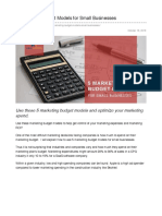 5 Marketing Budget Models for Small Businesses