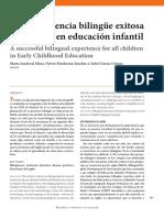 Una experiencia bilingüe exitosa para todos en educación infantil