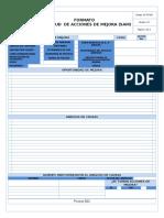 SC-FT-006 Formato Solicitud de Acciones de Mejora (SAM)