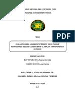 Evaluacion Del Aislamiento Termico de Un Tanque Refrigerado Mediante Coeficiente Global de Transferencia de Calor