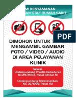 dilarang mengambil gambar klinik/rumah sakit