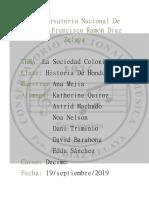 Sociedad colonial en honduras (informe)