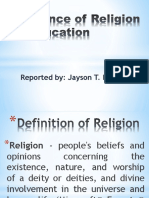 Influence of Religion in Education