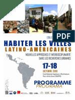 """Programa Seminario internacional """"Habitar las ciudades latinoamericanas"""" - octubre de 2019 - París, Francia"""