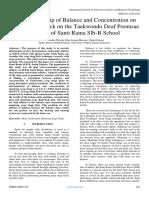 The Relationship of Balance and Concentration on Yeop Chagi's Kick on the Taekwondo Deaf Poomsae  Athletes of Santi Rama Slb-B School