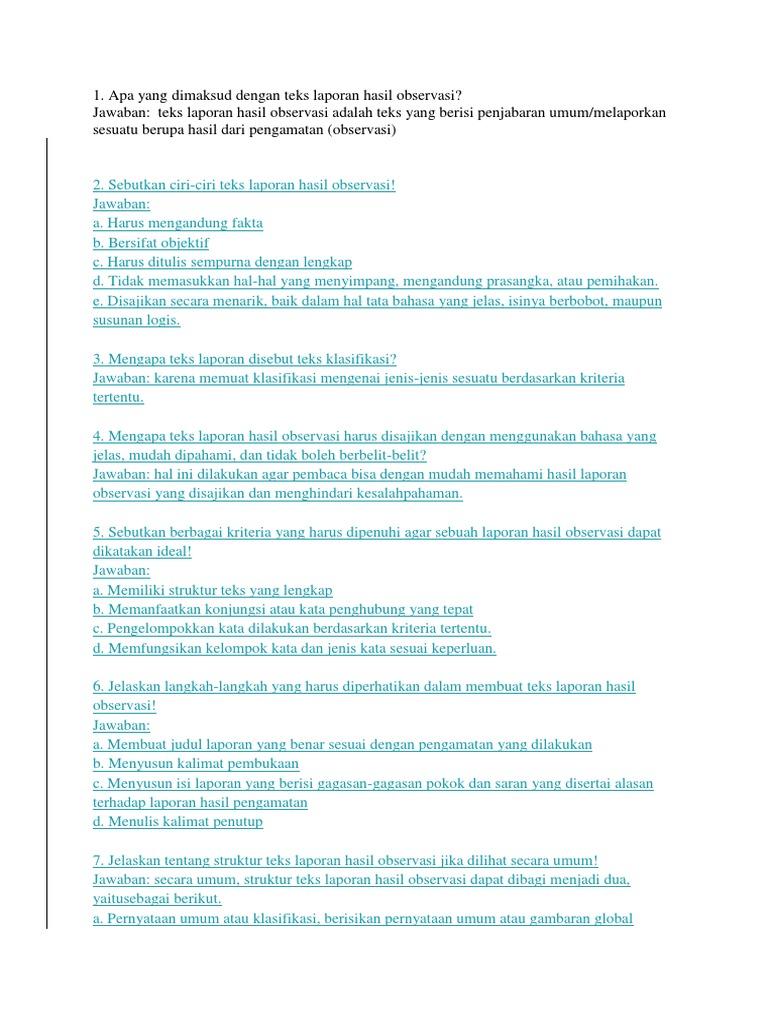 1 Apa Yang Dimaksud Dengan Teks Laporan Hasil Observasi Jawaban Teks Laporan Hasil Observasi Adalah Teks Yang Berisi Penjabaran Umum Melaporkan Sesuatu Berupa Hasil Dari Pengamatan Observasi
