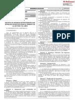 Decreto de Urgencia N° 003-2019. Decreto de Urgencia Extraordinario que establece incentivos para el fomento de la lectura y el libro