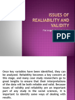 Issues of Realiability and Validity
