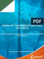 NTU 005.2 Critérios Para Elaboração de Projetos de Subestações Tipo Urbana B V2