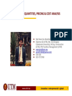 4. Measurement of Quantities, Pricing and Cost Analysis