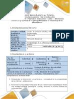 Guía de actividades y rúbrica de evaluación Unidad 1 -Tarea 1 - Elementos históricos y teóricos de la psicopatología de la Infancia y de la Adolescencia