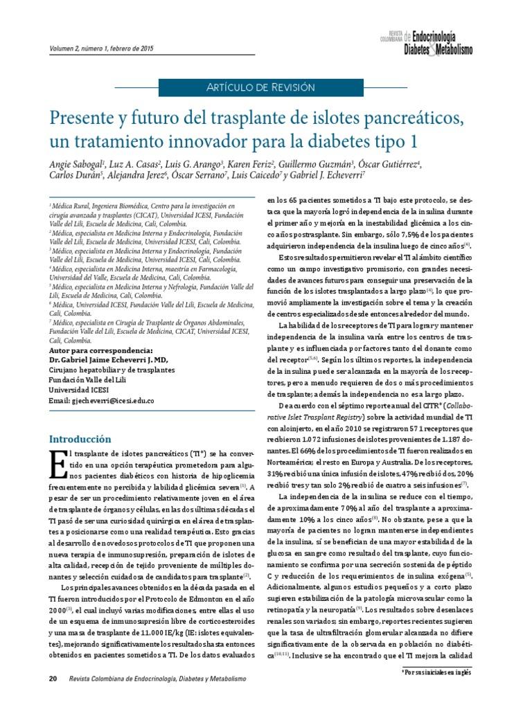 diabetes de tratamiento de trasplante de islote