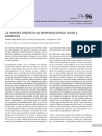 Custodio, La Memoria Histórica y Su Dimensión Política, Social y Académica