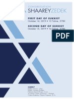 Sukkot Days 1&2, 2019 Services Card
